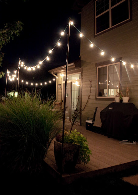 Hanging Globe String Lights from Posts
