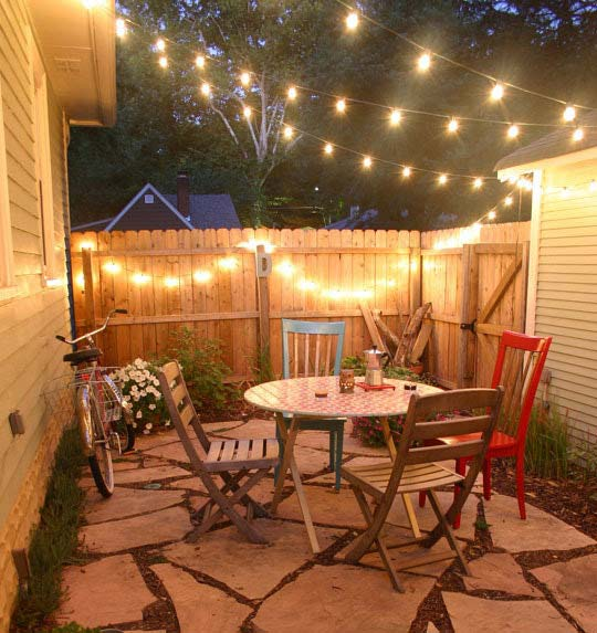 small patio for globe string lights