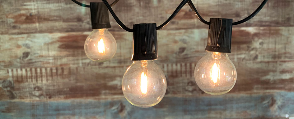 String Lights with LED G40 Vintage Bulbs