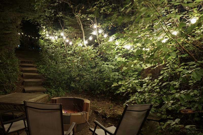 Globe String Lights to highlight backyard fire pit