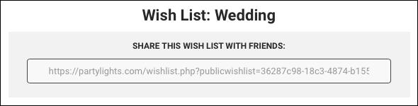 Wish List share link